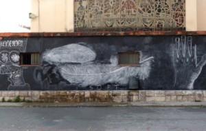 """Primer mural del projecte de modificació del pati """"Hack The School!"""""""