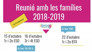 Reunions amb les famílies 2018-2019